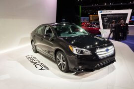 Detroit, MI, USA - January 12, 2015: Subaru Legacy on display during the 2015 Detroit International Auto Show at the COBO Center in downtown Detroit.