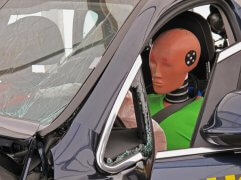 Detail of a simulated car accident.