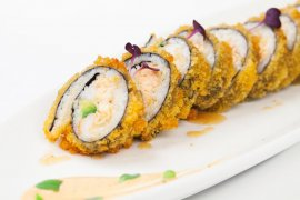 Fried sushi roll with salmon